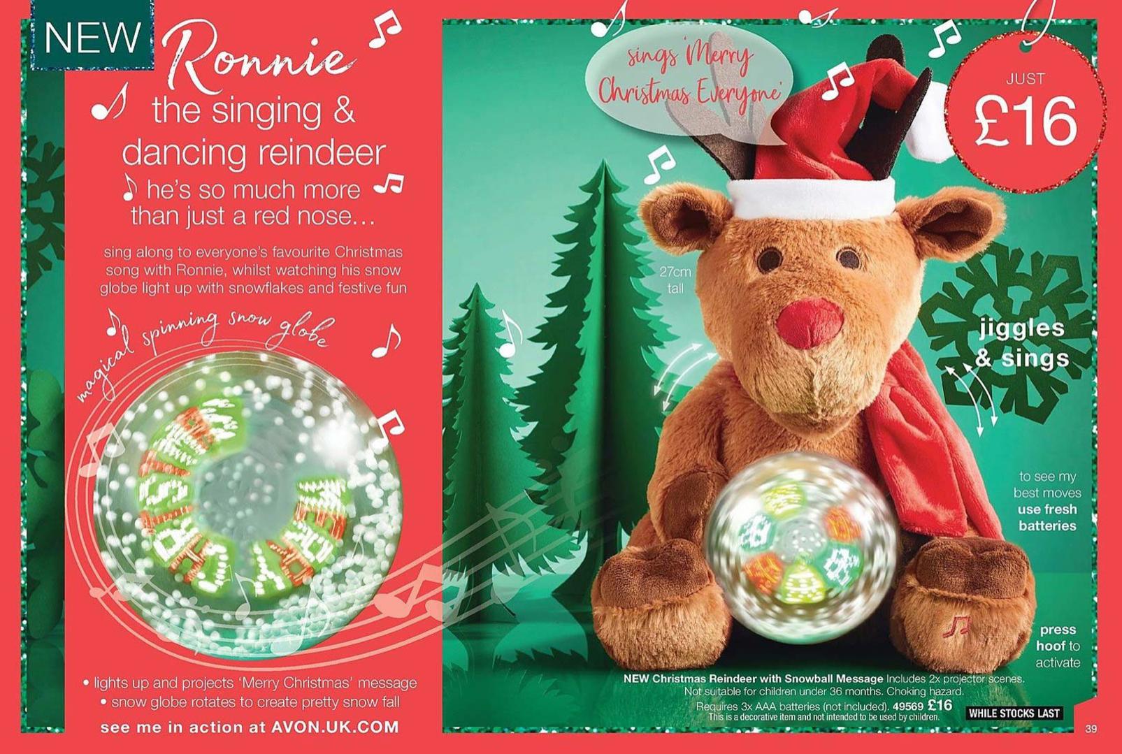 Avon UK brochure 1 Ronnie the Singing Reindeer