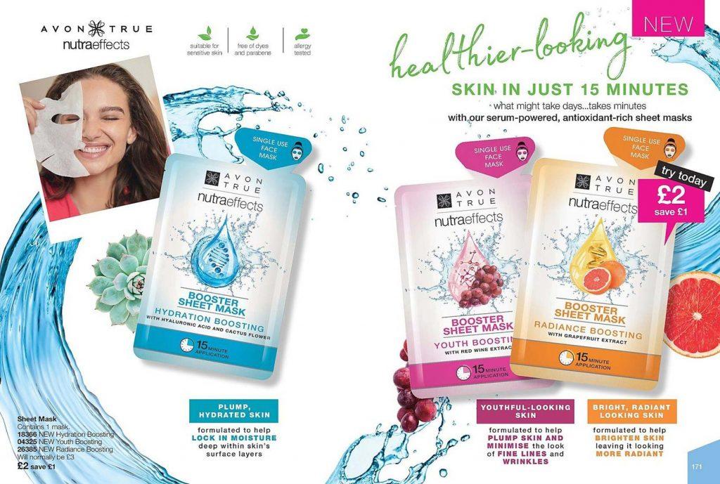 Avon Campaign 7 2019 UK Brochure Online - Nutraeffects sheet masks