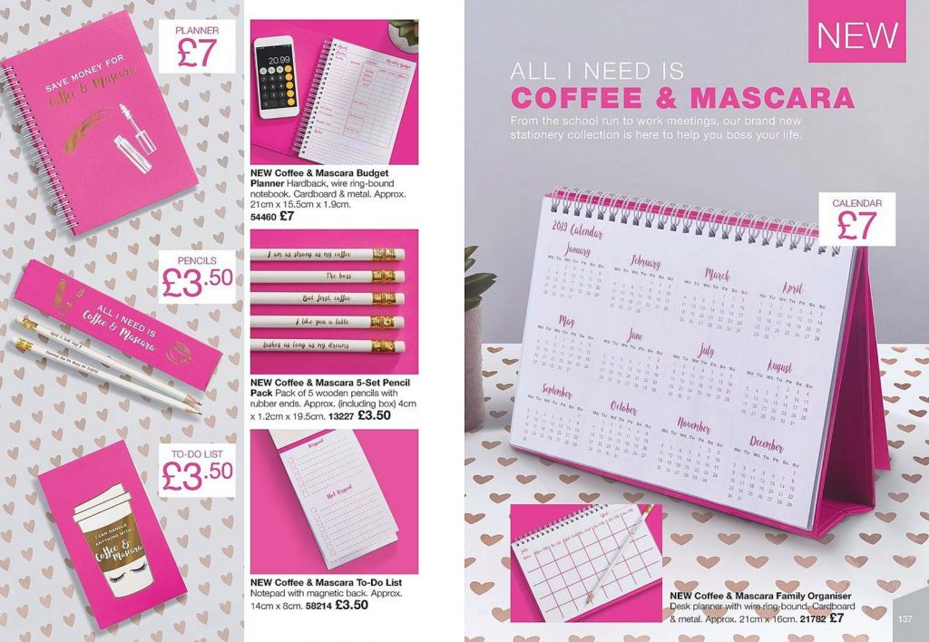 Avon Campaign 8 2019 UK Brochure Online - coffee and mascara stationary