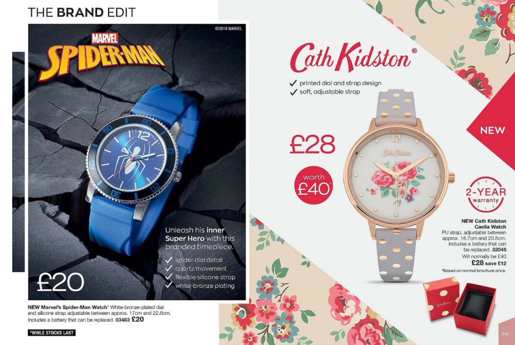 Avon Campaign 15 2019 UK Brochure Online - Brand Edit Spiderman and Cath Kidston watches