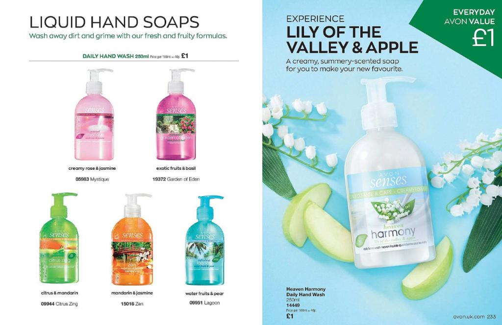 Avon liquid hand soaps