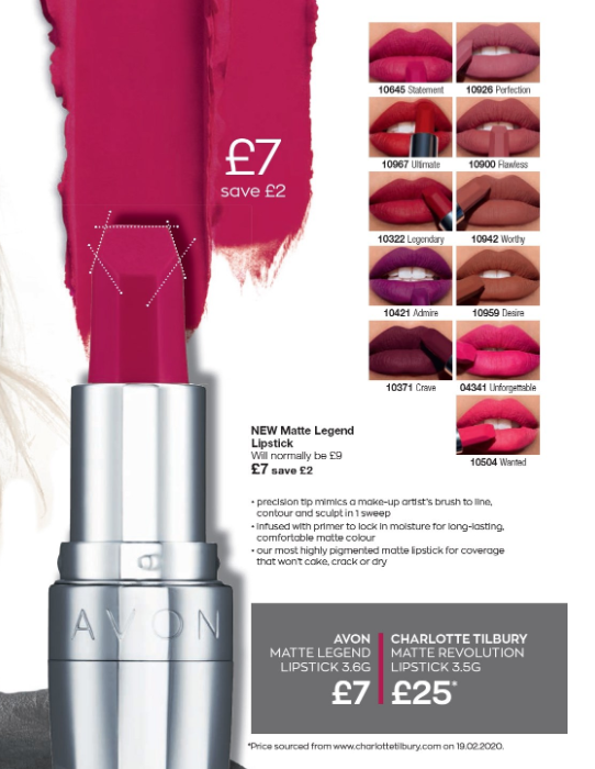 Avon Campaign 9 2020 UK Brochure Online - Matte Legend Lipstick